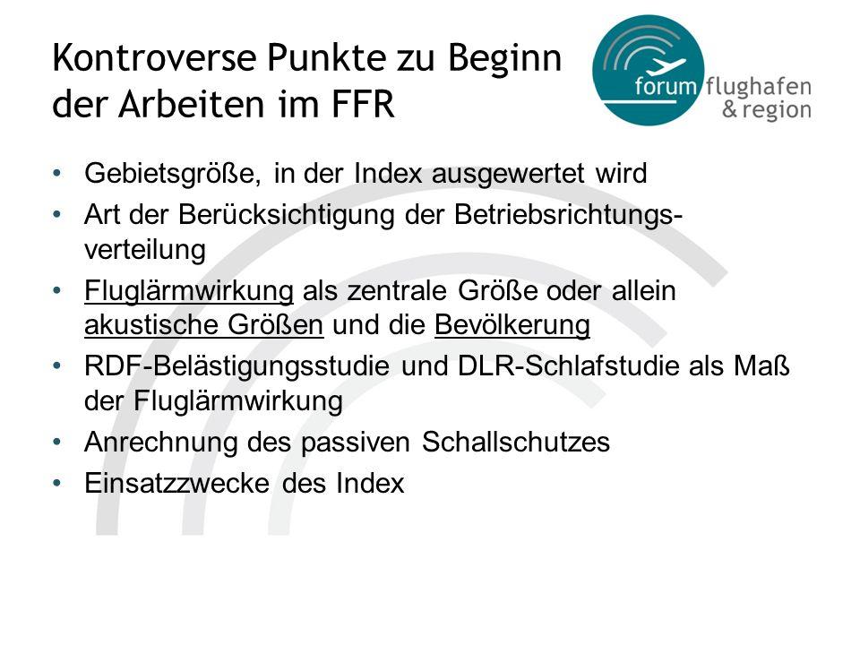 Kontroverse Punkte zu Beginn der Arbeiten im FFR Gebietsgröße, in der Index ausgewertet wird Art der Berücksichtigung der Betriebsrichtungs- verteilun