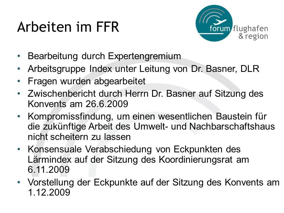 Eckpunkte des Index - Tag- und Nachtindex - Jeweils getrennter Index für Tag und Nacht Frankfurter Tagindex (FTI) deckt Zeit von 6-22 Uhr ab Basiert auf Zahl von hoch Belästigten nach RDF- Belästigungsstudie, die durch Berechnung des Lärms und Verschränkung mit Bevölkerungszahlen im jeweiligen Gebiet ermittelt werden Frankfurter Nachtindex (FNI) Deckt Zeit von 22-6 Uhr ab Basiert auf Zahl der zusätzlichen sog.