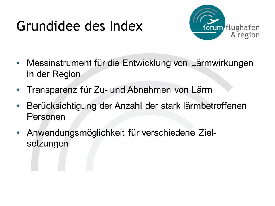 Grundidee des Index Messinstrument für die Entwicklung von Lärmwirkungen in der Region Transparenz für Zu- und Abnahmen von Lärm Berücksichtigung der