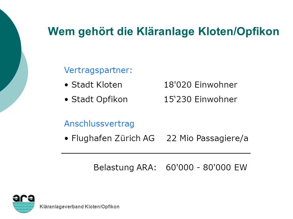Kläranlageverband Kloten/Opfikon Vertragspartner: Stadt Kloten 18'020 Einwohner Stadt Opfikon 15230 Einwohner Anschlussvertrag Flughafen Zürich AG 22