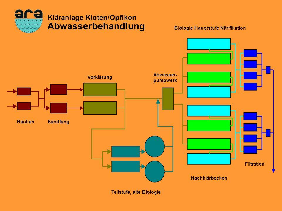 Schema Abwasserbehandlung Filtration RechenSandfang Teilstufe, alte Biologie Vorklärung Abwasser- pumpwerk Biologie Hauptstufe Nitrifikation Nachklärb
