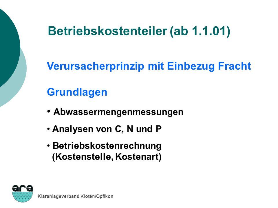 Kläranlageverband Kloten/Opfikon Betriebskostenteiler (ab 1.1.01) Verursacherprinzip mit Einbezug Fracht Grundlagen Abwassermengenmessungen Analysen v