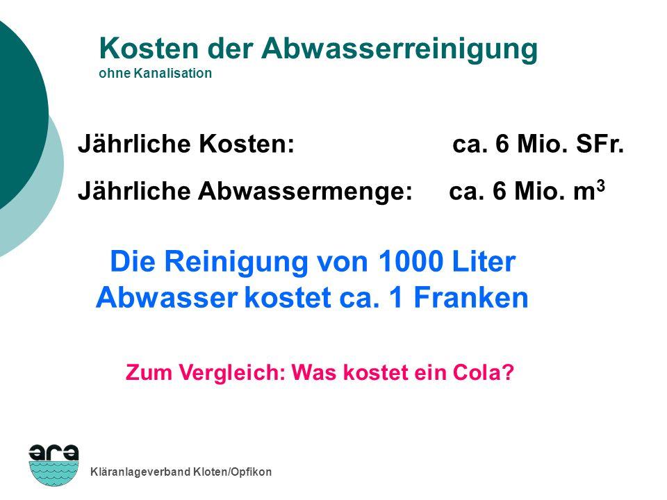 Kläranlageverband Kloten/Opfikon Kosten der Abwasserreinigung ohne Kanalisation Jährliche Kosten: ca. 6 Mio. SFr. Jährliche Abwassermenge: ca. 6 Mio.