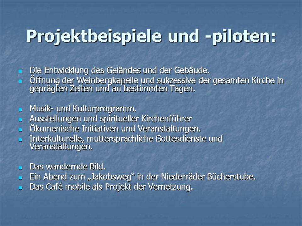 Projektbeispiele und -piloten: Die Entwicklung des Geländes und der Gebäude.