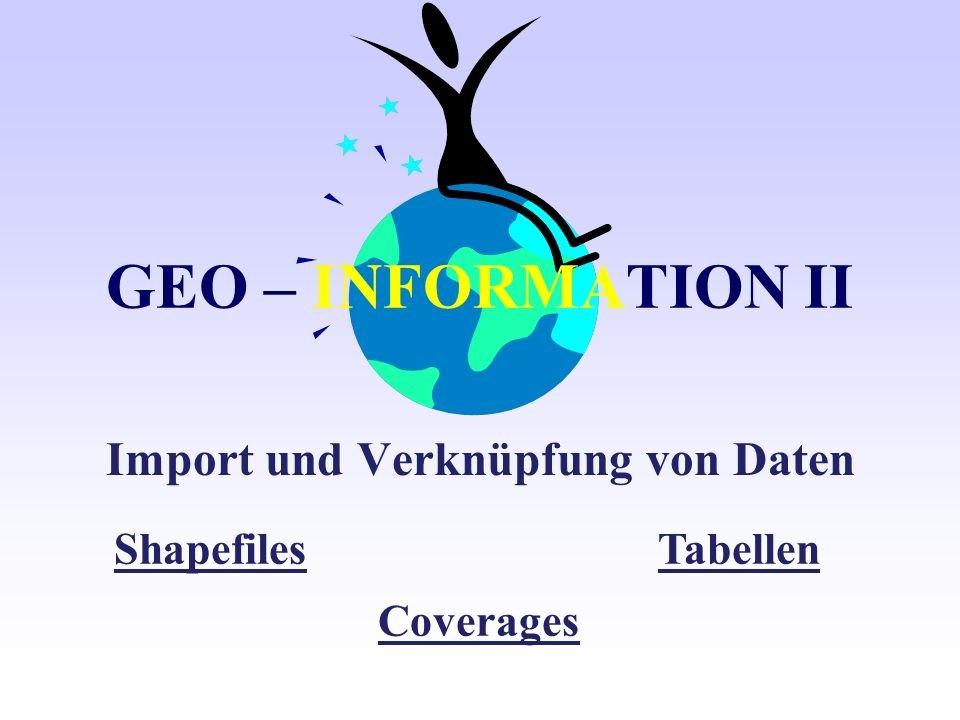 Feature data - Formate 18.12.2000 Frank Ottmann coverages shapefiles geodatabases ArcInfo speichert Vektordaten als features in feature classes.