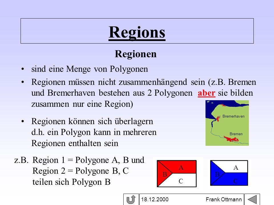 Regions 18.12.2000 Frank Ottmann sind eine Menge von Polygonen Regionen müssen nicht zusammenhängend sein (z.B. Bremen und Bremerhaven bestehen aus 2