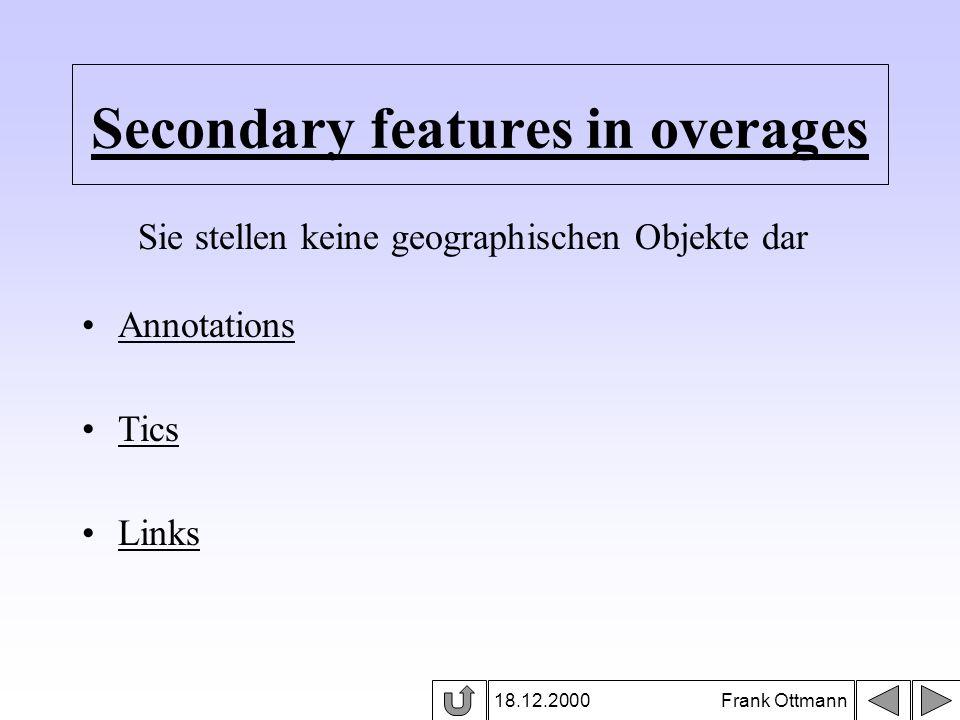 Secondary features in overages 18.12.2000 Frank Ottmann Annotations Tics Links Sie stellen keine geographischen Objekte dar