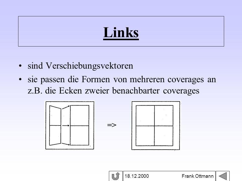 Links 18.12.2000 Frank Ottmann sind Verschiebungsvektoren sie passen die Formen von mehreren coverages an z.B. die Ecken zweier benachbarter coverages