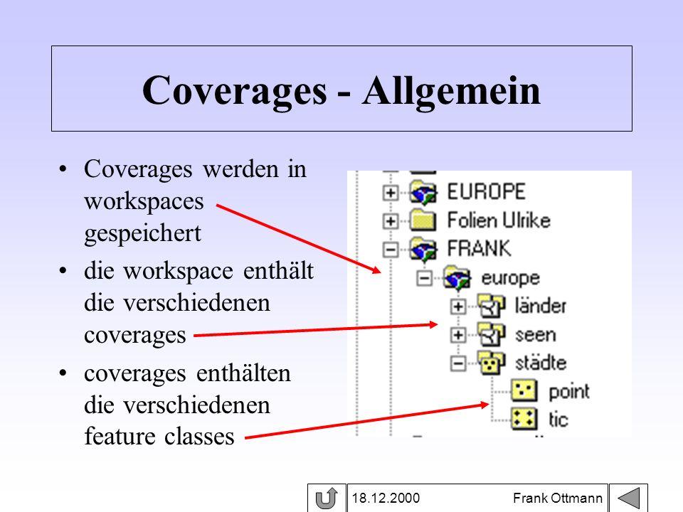 18.12.2000 Frank Ottmann Coverages - Allgemein Coverages werden in workspaces gespeichert die workspace enthält die verschiedenen coverages coverages