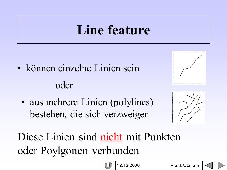 18.12.2000 Frank Ottmann Line feature können einzelne Linien sein aus mehrere Linien (polylines) bestehen, die sich verzweigen oder Diese Linien sind