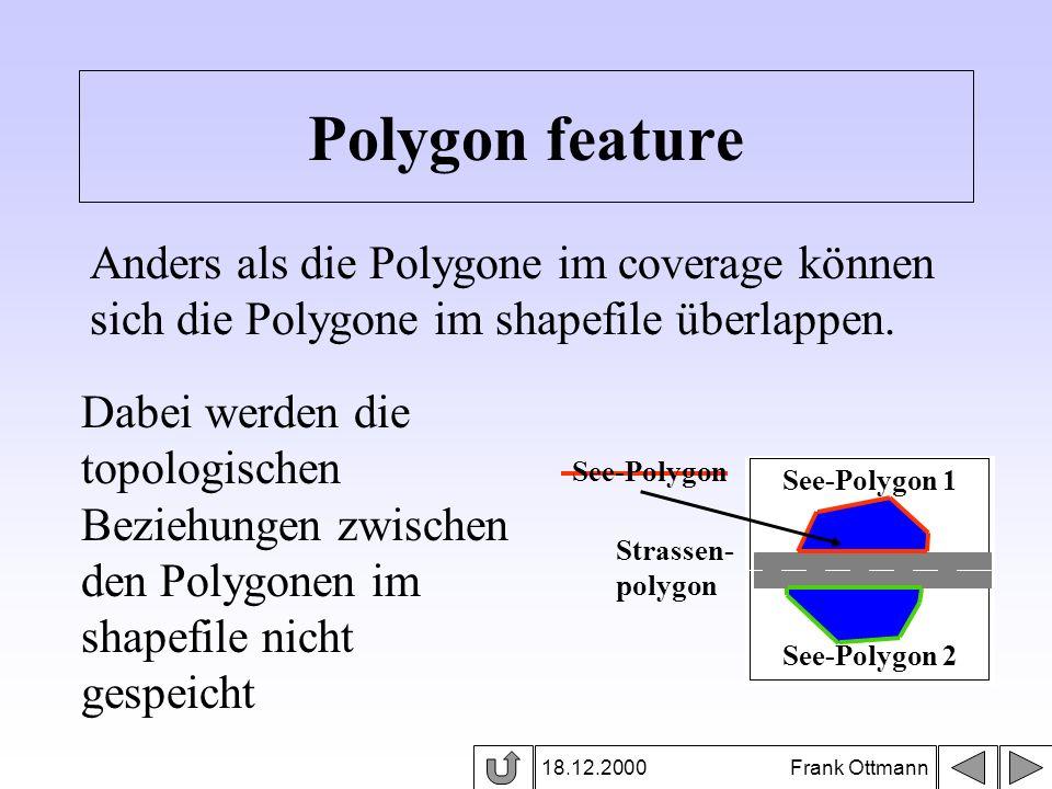 18.12.2000 Frank Ottmann Polygon feature Anders als die Polygone im coverage können sich die Polygone im shapefile überlappen. Dabei werden die topolo