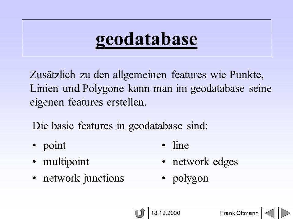 geodatabase 18.12.2000 Frank Ottmann Zusätzlich zu den allgemeinen features wie Punkte, Linien und Polygone kann man im geodatabase seine eigenen feat