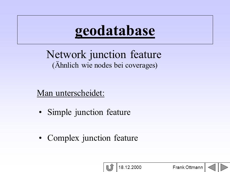 geodatabase 18.12.2000 Frank Ottmann Network junction feature (Ähnlich wie nodes bei coverages) Man unterscheidet: Simple junction feature Complex jun
