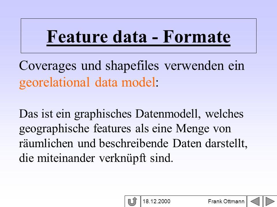 Feature data - Formate 18.12.2000 Frank Ottmann Coverages und shapefiles verwenden ein georelational data model: Das ist ein graphisches Datenmodell,