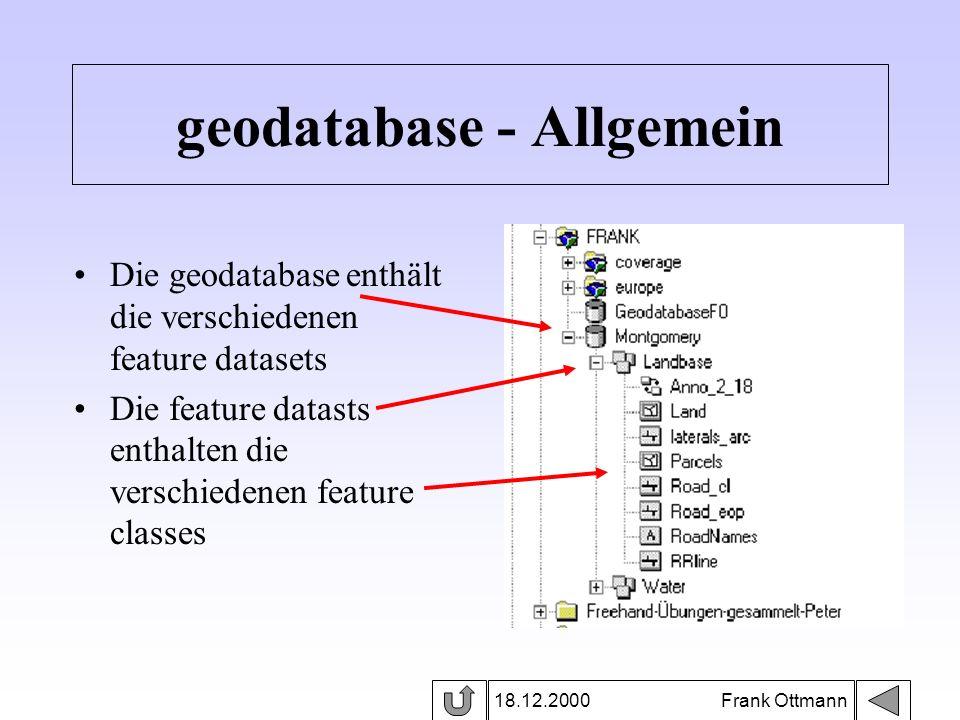 18.12.2000 Frank Ottmann geodatabase - Allgemein Die geodatabase enthält die verschiedenen feature datasets Die feature datasts enthalten die verschie