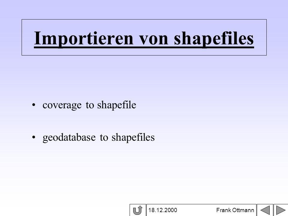 Importieren von shapefiles 18.12.2000 Frank Ottmann coverage to shapefile geodatabase to shapefiles