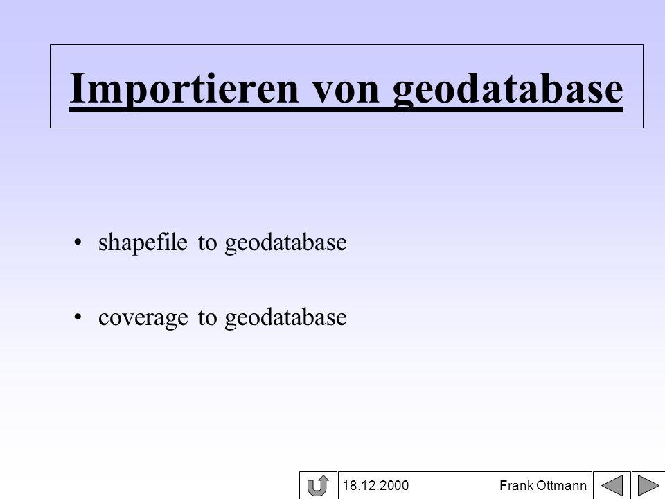 Importieren von geodatabase 18.12.2000 Frank Ottmann shapefile to geodatabase coverage to geodatabase