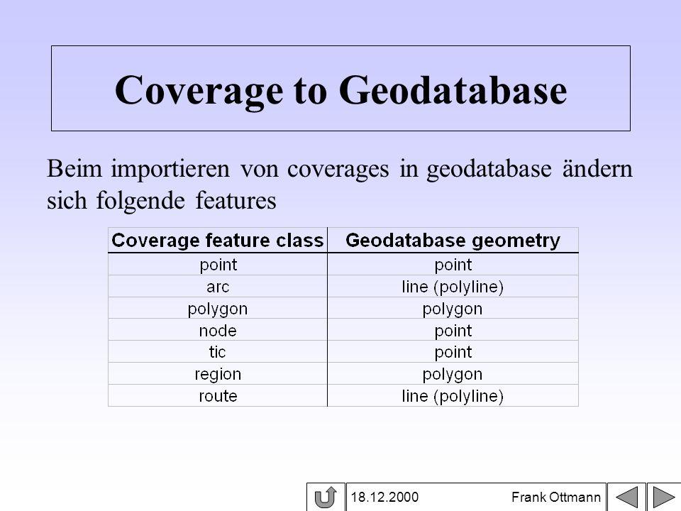 18.12.2000 Frank Ottmann Coverage to Geodatabase Beim importieren von coverages in geodatabase ändern sich folgende features
