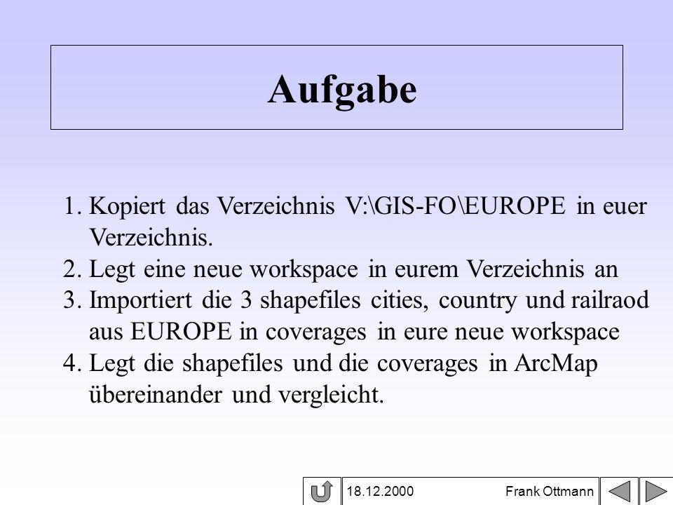 18.12.2000 Frank Ottmann Aufgabe 1. Kopiert das Verzeichnis V:\GIS-FO\EUROPE in euer Verzeichnis. 2. Legt eine neue workspace in eurem Verzeichnis an