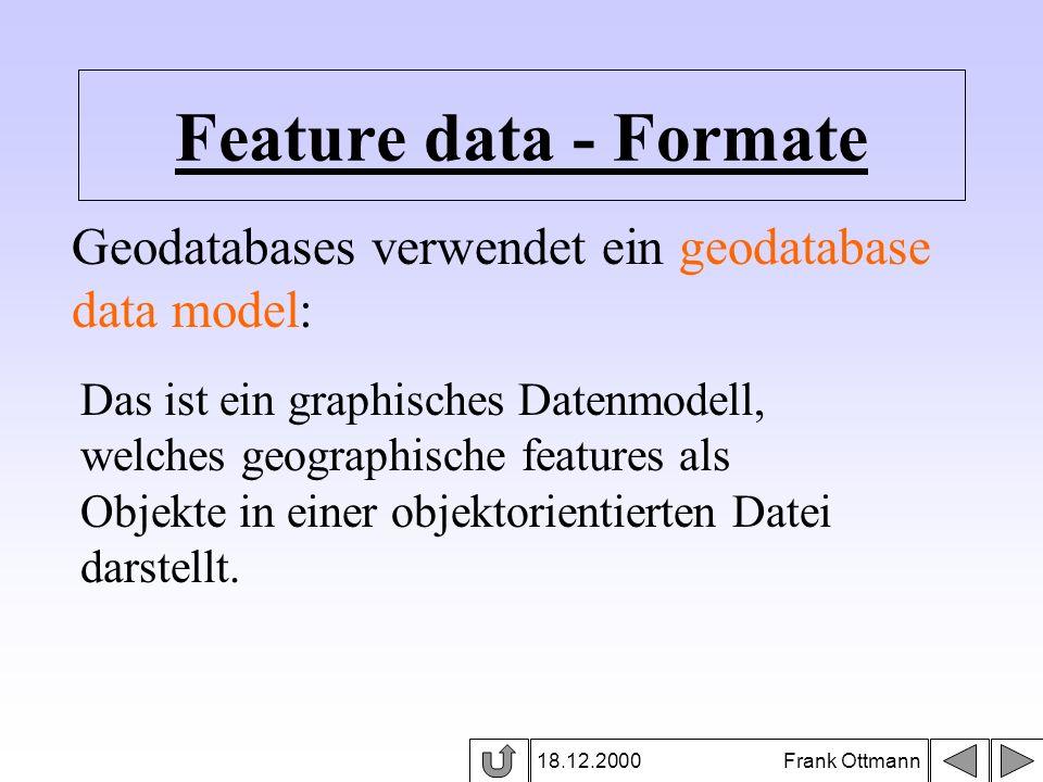 Feature data - Formate 18.12.2000 Frank Ottmann Geodatabases verwendet ein geodatabase data model: Das ist ein graphisches Datenmodell, welches geogra