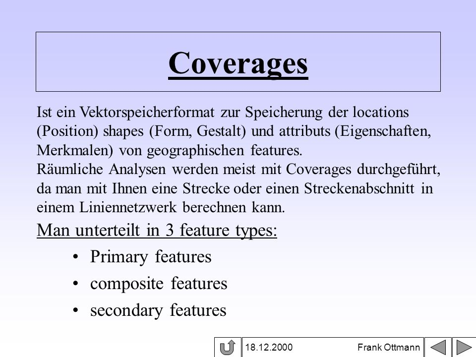 Primary features in Coverages 18.12.2000 Frank Ottmann Primary features sind: points arcs polygons nodes