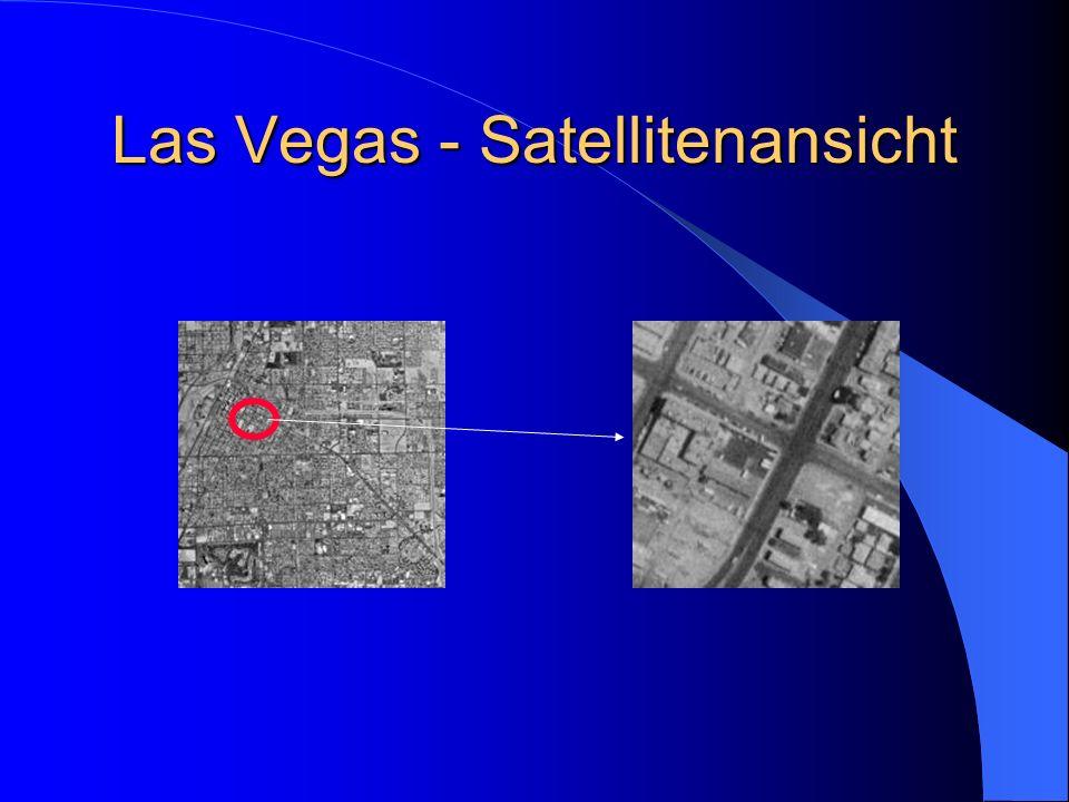 Veränderungen in Las Vegas durch den Satelliten beobachtet Las Vegas 1964: schwarz-weiß Aufnahme Stadtkern zu sehen wenig Bebauung im Westen und Süden Wüste 127.000 Einwohner