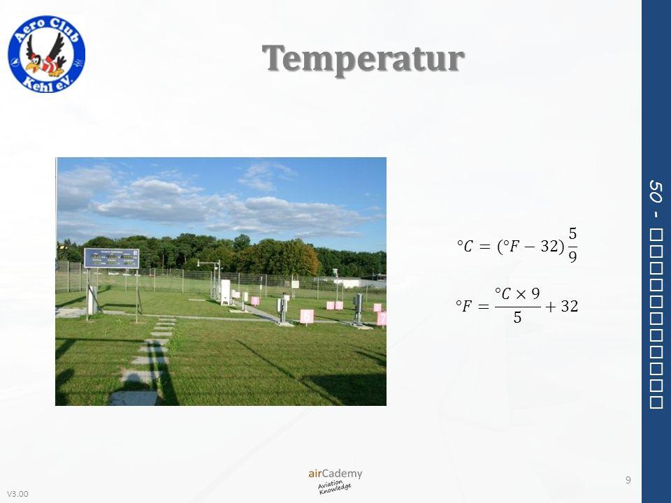V3.00 50 - Meteorology Druckkorrektur 80 Bei QNH < 1.013 hPa ist die wahre Höhe (True Altitude) geringer als die nach Standard angezeigte Höhe.