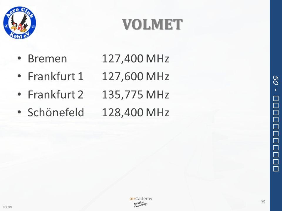 V3.00 50 - Meteorology VOLMET Bremen127,400 MHz Frankfurt 1127,600 MHz Frankfurt 2135,775 MHz Schönefeld128,400 MHz 93