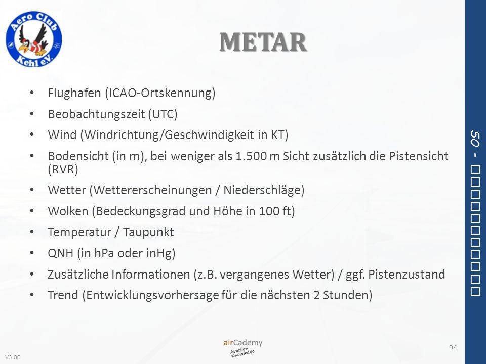 V3.00 50 - Meteorology METAR Flughafen (ICAO-Ortskennung) Beobachtungszeit (UTC) Wind (Windrichtung/Geschwindigkeit in KT) Bodensicht (in m), bei weni