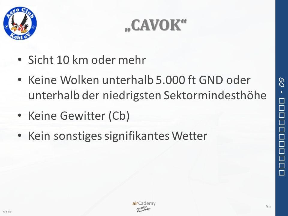 V3.00 50 - Meteorology CAVOK Sicht 10 km oder mehr Keine Wolken unterhalb 5.000 ft GND oder unterhalb der niedrigsten Sektormindesthöhe Keine Gewitter