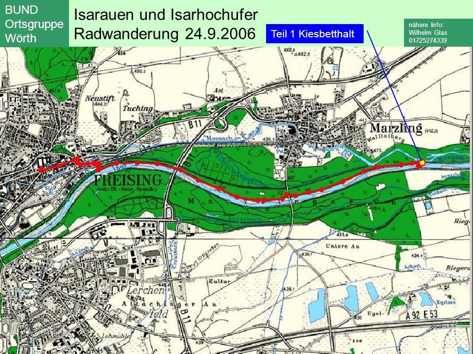 Isarauen und Isarhochufer Radwanderung 24.9.2006 BUND Ortsgruppe Wörth nähere Info: Wilhelm Glas 01725274339 Teil 1 Kiesbetthalt Teil 2 Oberhummel