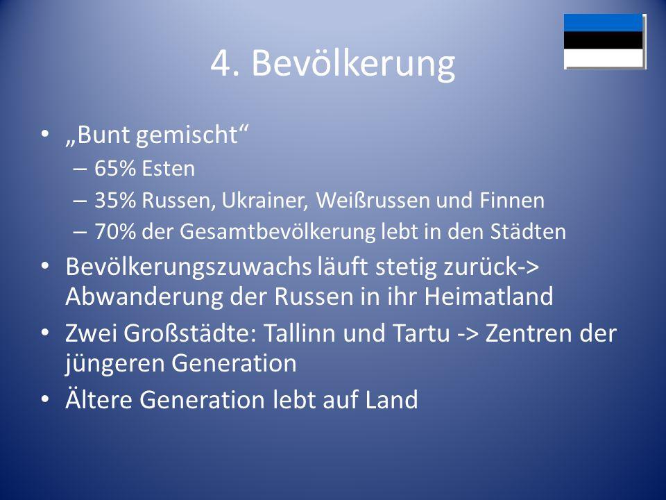 4. Bevölkerung Bunt gemischt – 65% Esten – 35% Russen, Ukrainer, Weißrussen und Finnen – 70% der Gesamtbevölkerung lebt in den Städten Bevölkerungszuw
