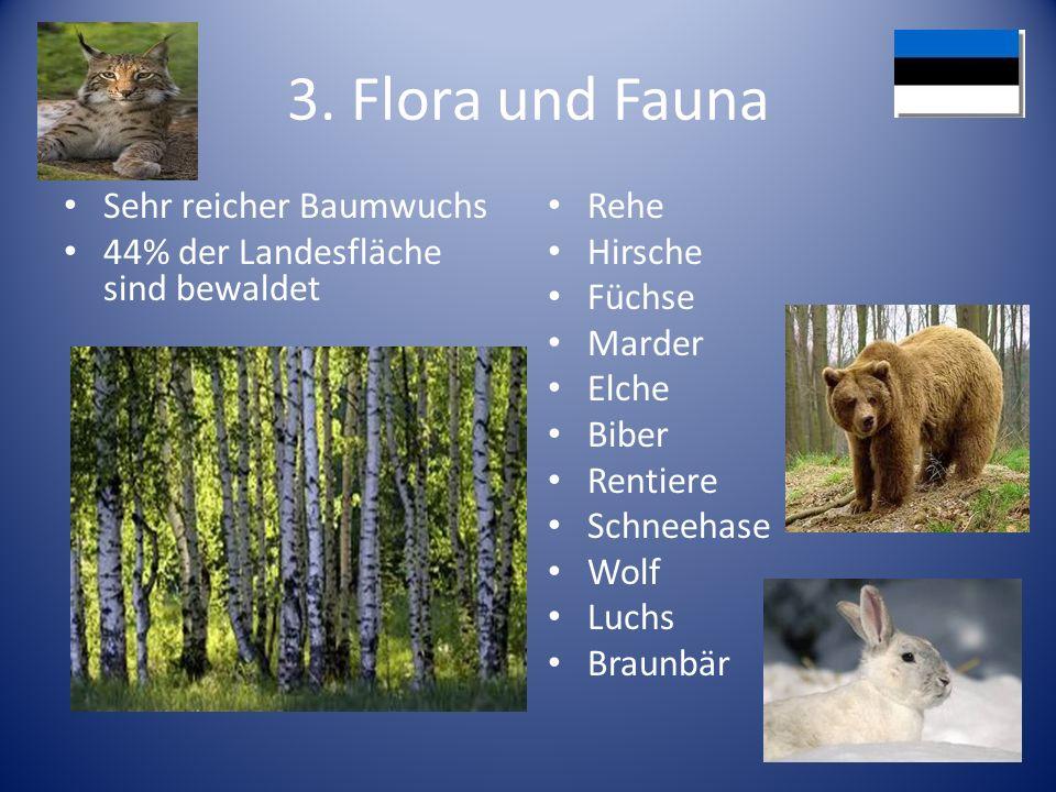 3. Flora und Fauna Sehr reicher Baumwuchs 44% der Landesfläche sind bewaldet Rehe Hirsche Füchse Marder Elche Biber Rentiere Schneehase Wolf Luchs Bra