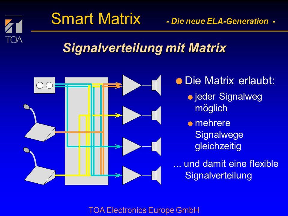 bcbc TOA Electronics Europe GmbH Smart Matrix - Die neue ELA-Generation - Vorteile des Smart Matrix Systems: l Einfach l Bedienung l Systemkonfigurati