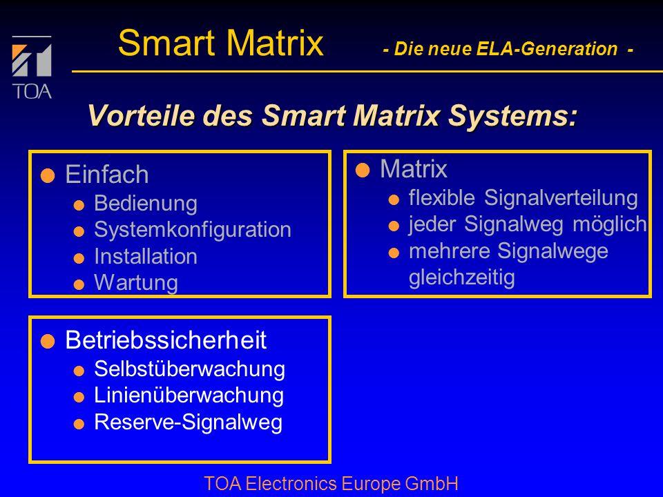 bcbc TOA Electronics Europe GmbH Smart Matrix - Die neue ELA-Generation - Signalverteilung mit Matrix l Die Matrix erlaubt:... und damit eine flexible
