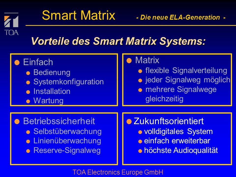 bcbc TOA Electronics Europe GmbH Smart Matrix - Die neue ELA-Generation - Betriebssicherheit l durch Überwachung des Notfallmikrofons: Matrix