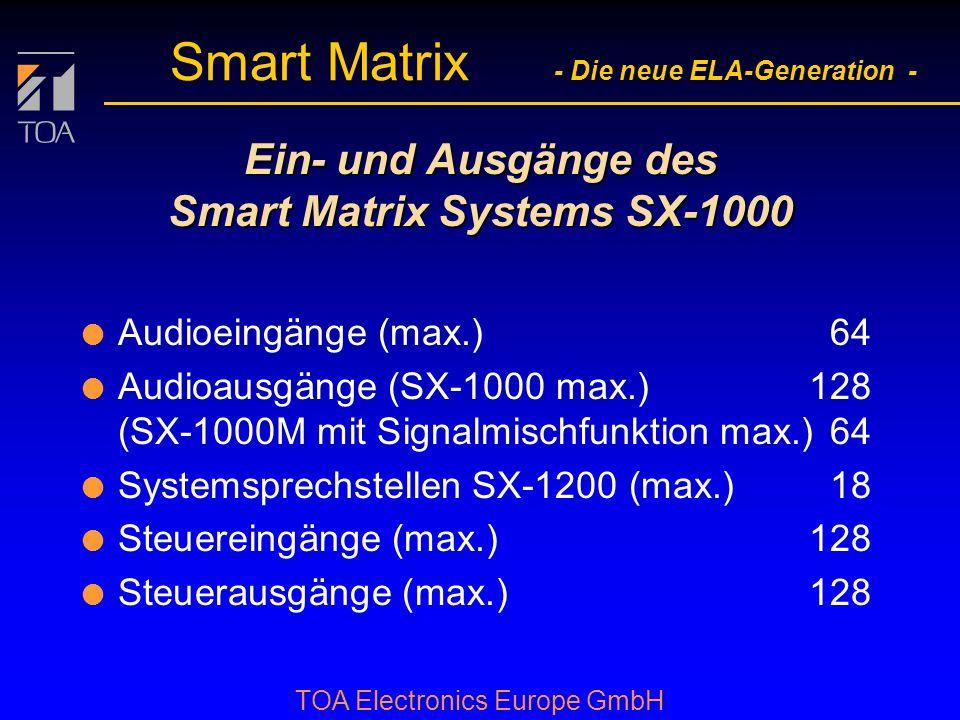 bcbc TOA Electronics Europe GmbH Smart Matrix - Die neue ELA-Generation - Zukunftsorientiert l volldigitales System l einfach erweiterbar l höchste Au