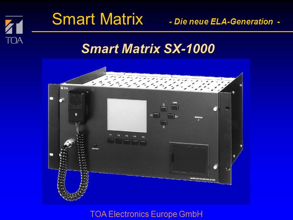 bcbc TOA Electronics Europe GmbH Smart Matrix - Die neue ELA-Generation - Betriebssicherheit l durch Selbstüberwachung der Matrix: Basis- eingangs- karte Standard- eingangs- karte Sprechstellen- eingangs- karte Audio- ausgangs- karte Steuer- ausgangs- karte Steuer- eingangs- karte CPU- karte PC l Systemkonfiguration l Softwarefehler l interne Steuerbusse Steuerbus Sprechstellenbus l Audiosignalwege Ersatzweg dig.