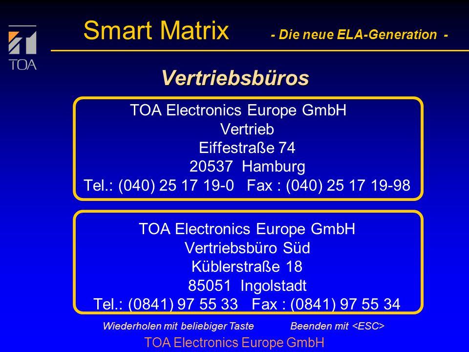 bcbc TOA Electronics Europe GmbH Smart Matrix - Die neue ELA-Generation - Weitere Features l Abgesetzte Steuerein- und -ausgänge (max. je 128) über 2-