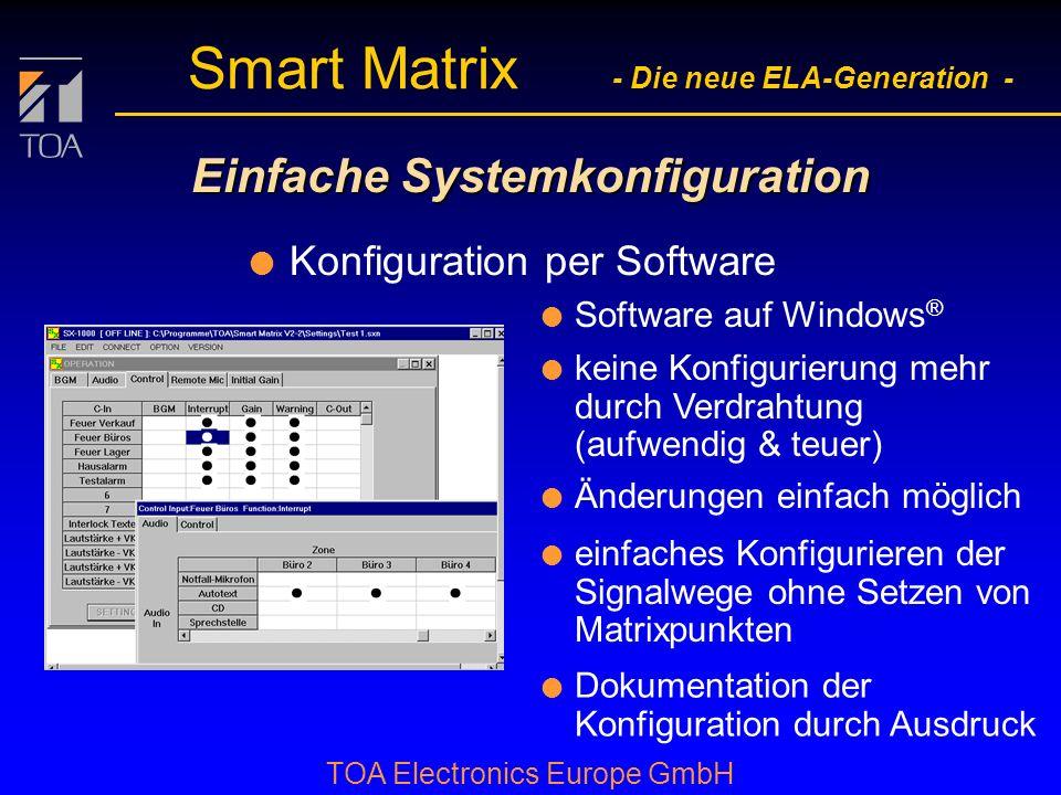 bcbc TOA Electronics Europe GmbH Smart Matrix - Die neue ELA-Generation - Einfache Systemkonfiguration l Konfiguration per Software l Software auf Windows ® l keine Konfigurierung mehr durch Verdrahtung (aufwendig & teuer) l Änderungen einfach möglich l einfaches Konfigurieren der Signalwege ohne Setzen von Matrixpunkten l Dokumentation der Konfiguration durch Ausdruck