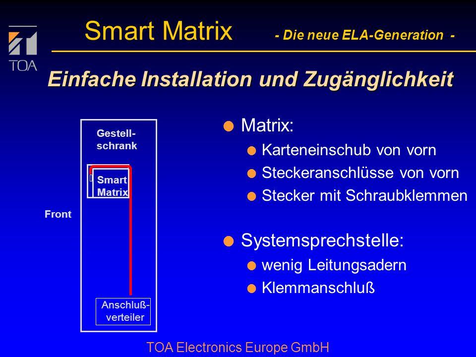 bcbc TOA Electronics Europe GmbH Smart Matrix - Die neue ELA-Generation - Einfache Installation und Zugänglichkeit l Matrix: l Karteneinschub von vorn l Steckeranschlüsse von vorn l Stecker mit Schraubklemmen Anschluß- verteiler Smart Matrix Gestell- schrank Front l Systemsprechstelle: l wenig Leitungsadern l Klemmanschluß