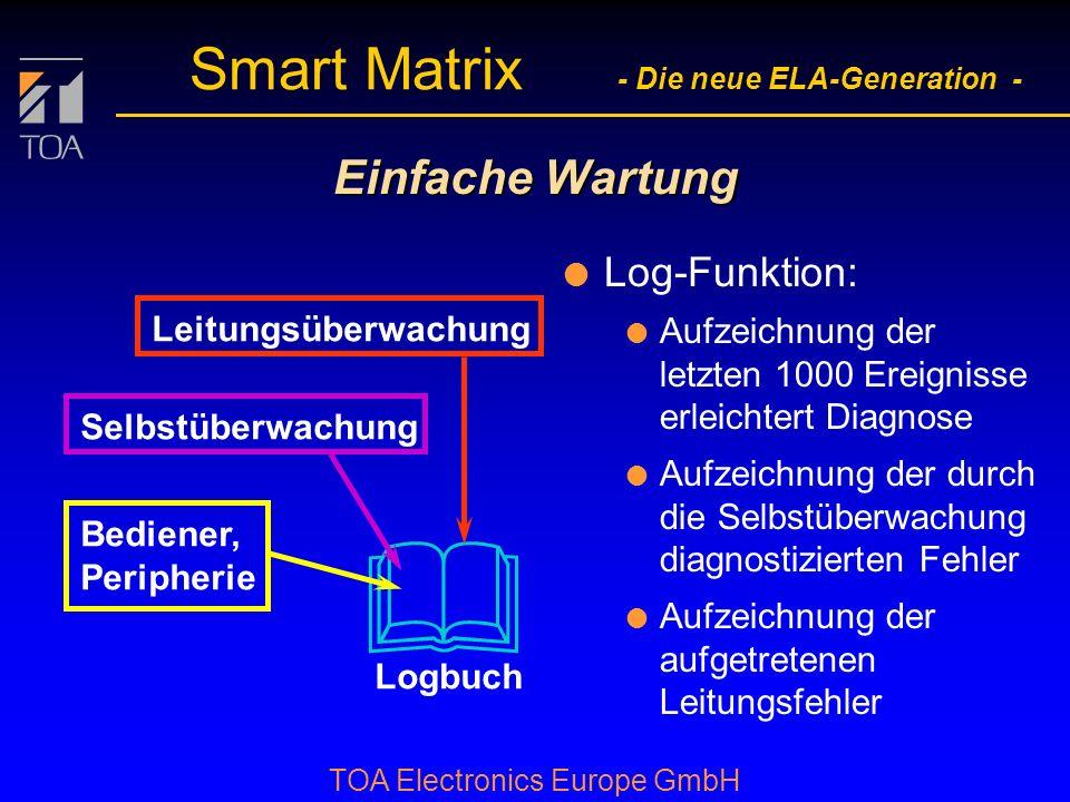 bcbc TOA Electronics Europe GmbH Smart Matrix - Die neue ELA-Generation - Einfache Wartung l Log-Funktion: Logbuch l Aufzeichnung der letzten 1000 Ereignisse erleichtert Diagnose Bediener, Peripherie l Aufzeichnung der durch die Selbstüberwachung diagnostizierten Fehler Selbstüberwachung l Aufzeichnung der aufgetretenen Leitungsfehler Leitungsüberwachung