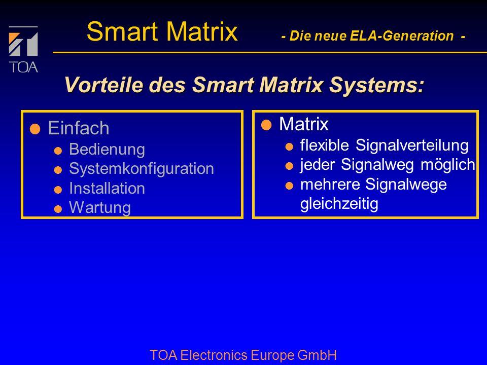 bcbc TOA Electronics Europe GmbH Smart Matrix - Die neue ELA-Generation - Vorteile des Smart Matrix Systems: l Einfach l Bedienung l Systemkonfiguration l Installation l Wartung l Matrix l flexible Signalverteilung l jeder Signalweg möglich l mehrere Signalwege gleichzeitig