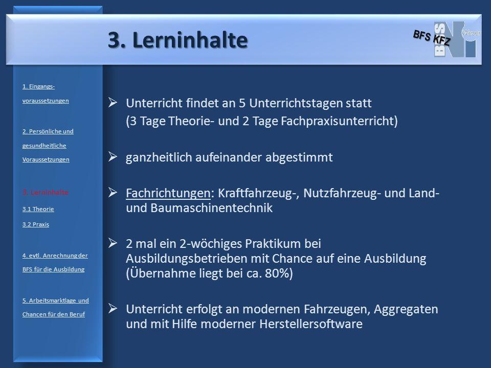3.Lerninhalte 1. Eingangs- voraussetzungen 2. Persönliche und gesundheitliche Voraussetzungen 3.
