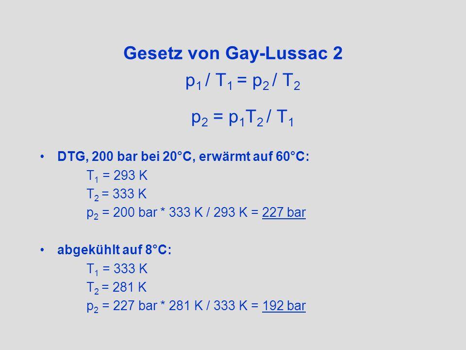 Gesetz von Gay-Lussac 3 Auswirkung auf den Luftverbrauch: Luft wird bei Körpertemperatur (37°C) eingeatmet Druckänderungen bei gleicher Luftmenge spielen keine Rolle 10 l-DTG, 190 bar bei 14°C Welche Luftmenge atmen wir bei 37°C ein.