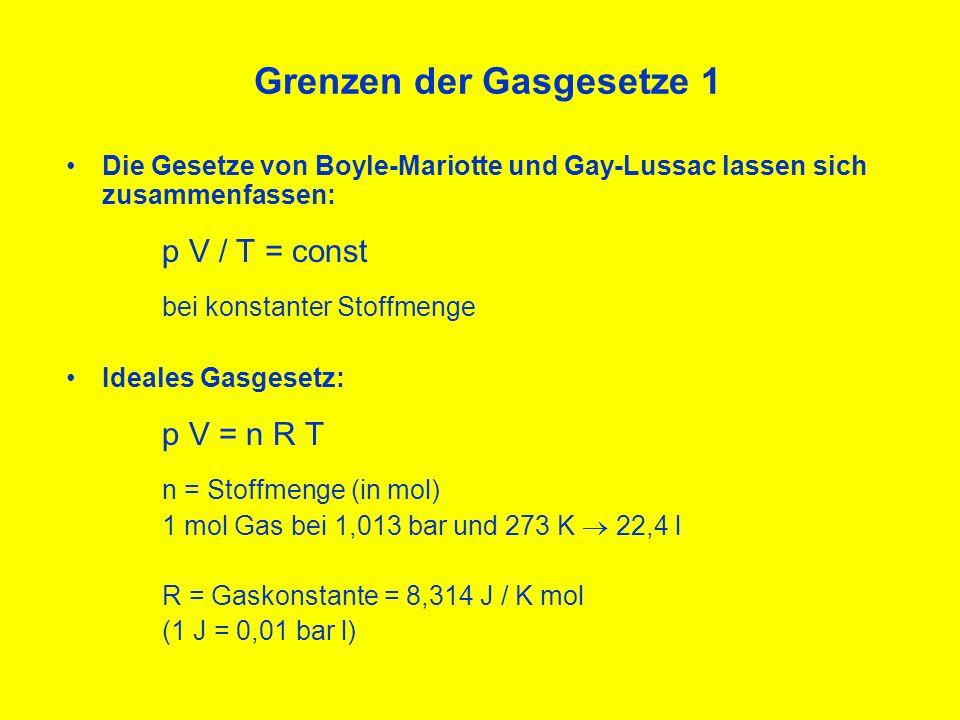 Grenzen der Gasgesetze 2 Abweichungen realer Gase vom idealen Verhalten : Anziehungskräfte bei niedrigeren Temperaturen Eigenvolumen der Moleküle bei hohen Drücken Auswirkungen für Taucher: 200 bar:annähernd ideales Verhalten 300 bar:~10% Abweichung z.B.