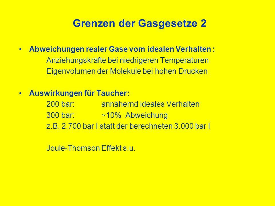 Joule-Thomson Effekt 1 Abkühlung beim raschen Entspannen von Gasen: Ursache: Anziehungskräfte zwischen Molekülen Komprimieren Energie wird frei (Erwärmung) Ausdehnen Energie wird verbraucht (Abkühlung) Gefahr des Vereisens von Automaten!