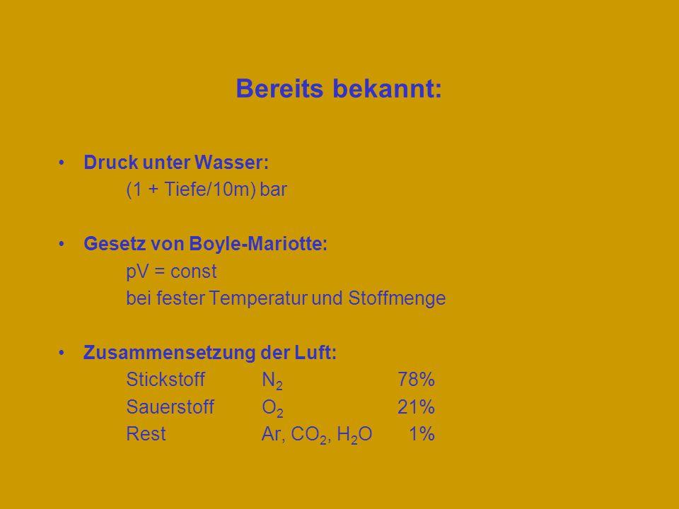 Bereits bekannt: Druck unter Wasser: (1 + Tiefe/10m) bar Gesetz von Boyle-Mariotte: pV = const bei fester Temperatur und Stoffmenge Zusammensetzung de