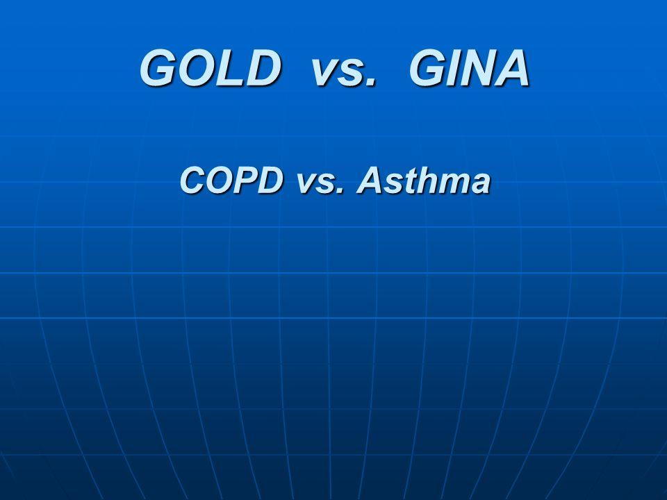 GOLD vs. GINA COPD vs. Asthma