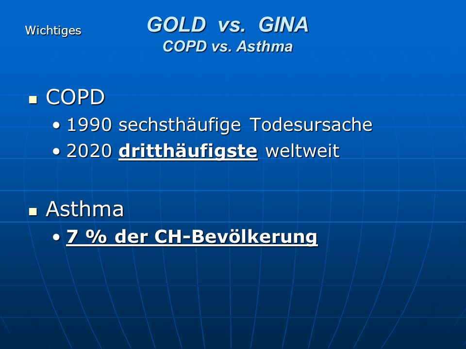 Global Initiative for Asthma (GINA) Global Initiative for obstructive Lung disease (GOLD) Internat.